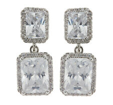 CLIP ON EARRINGS silver plated luxury earring with cubic zirconia stones - Moira