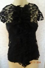 OASIS BLACK LACE FRILL PARTY TOP SIZE 6 BNWT