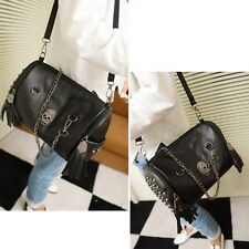 Ladies Skull Rivet Tassels Handbag Crossbody Shoulder Chain Bag Satchel
