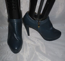 WOMENS SPOT ON BLUE ZIP SYNTHETIC HIGH HEEL COURT SHOES Size:5/38(WHS50)