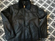 """new with partial tag bhs black very soft leather zip front jacket size12 ch 39"""""""
