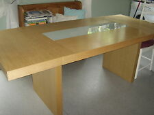 Solid Wood Veneered 6 seater Table with Glass Insert