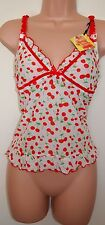 CAPRICE WHITE MESH CHERRY RED FRILL FLIPPY CAMI LINGERIE TOP TUNIC CAMISOLE 14