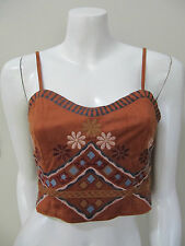 BNWOT TUART sz 10/S soft lined suede like strappy embroidered crop top AS NEW