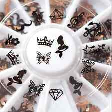 240pc 3D Metal Slice Nail Art Tips Decoration Black Gold Stickers Decal Foil DIY
