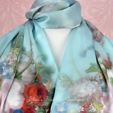 100% Real Pure Genuine Mulberry Silk Long Scarf Floral Blue Shawl Wrap Stole New