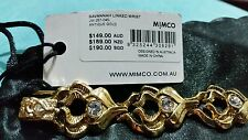 ♡♡♡ BNWT Mimco SEXY Buckle up ANTIQUE GOLD Beaded CRYSTALS Jet wrist Bracelet