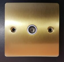 One ELectrical Flat Plate Satin Brass White Inserts TV Socket 1 Gang EH1209UK