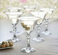 6 Vintage Style Martini Cocktail Glasses 170ml glass bevelled stem | Festive