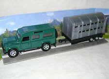 NEW 4X4 GREEN LAND ROVER CAR WITH SILVER LIVESTOCK TRAILER TEAMSTERS