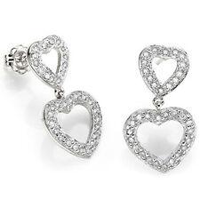 Lovely Heart Earrings W/1/3ctw Genuine Diamond Platinum over 925 Sterling Silver