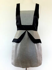 REVIEW MINI FITTED PEPLUM SHIFT DRESS Black & Silver Size 10 Cocktail Formal