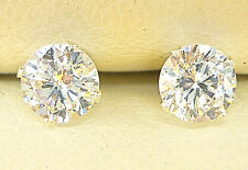 925 STERLING SILVER DIAMOND STUD EARRINGS 5mm  ROUND CREATED CLEAR STONE  858
