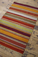 TRADITIONAL Autumn colour STRIPED COTTON WOOL KILIM RUG 75 x 120 cm Hand Made