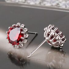 Your valued choice! garnet 18K White gold filled Luxury wedding stud earring