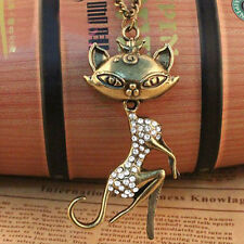 Ladies Necklace Vintage Cat Queen Crystal Rhinestone Long Chain Pendant