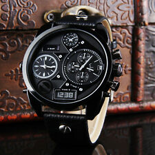 Men's Watches Black Oversize Synthetic Leather Band Quartz Wrist Watch Hot