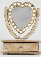Shabby Chic Wooden Mirror Heart Dressing Table With Drawer distress finish
