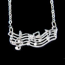 w Swarovski Crystal Dainty TREBLE g CLEF music Musical NOTE Necklace Jewelry New
