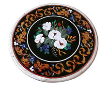 "18"" Black Marble Round Coffee Side Table Top Marquetry Mosaic Floral Inlay Decor"