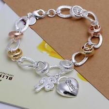 2016 New .925 Sterling Silver Plated Rose & Yellow Gold Link Charm Bracelet