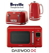 Breville Impressions Red Kettle and Toaster Set & Daewoo Retro Microwave - New