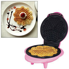 PINK 1000W ELECTRIC NON-STICK WAFFLE MAKER MAKING MACHINE 5 HEART SHAPED WAFFLES