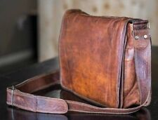 Men's Vintage Brown Leather Messenger Bag Genuine Leather Shoulder Laptop Bag.