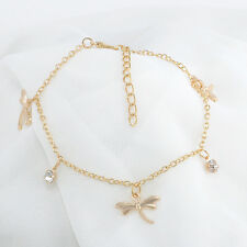 Women Foot Jewelry Gold Color Chain Crystal Dragonfly Pendants Anklet Bracelets