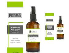 2 x Pure 100% Hyaluronic Acid Serum + Vitamin C  100ml with Serum Pump