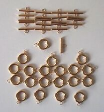 20 small gold plated plain t bar or toggle clasps, findings for jewellery making