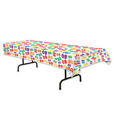 80th Celebration Plastic Tablecover - 137 x 274cm - Birthday Party Decoration
