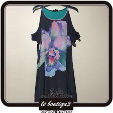 WAYNE BY WAYNE COOPER Black Floral Print Summer Shift Dress Size 8