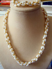 BRIDES FRESHWATER RICE PEARL & GOLD BEAD NECKLACE AND BRACELET SET