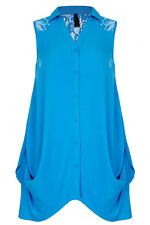Loose Fitting Ladies Blue Lace Shirt  TUNIC / Top  Size 20 Free Post