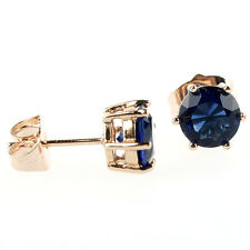 18K Yellow Gold Filled 8 mm Fashion Cut Blue Sapphire Round Stud Earrings