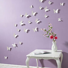 3D Butterfly Wall Stickers White 15PC Butterfly Decorations Art 40-3