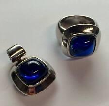 SET Silberring + Anhänger 925 er Silber mit blauem Stein Ring Gr.54