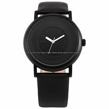 New SINOBI Elegant Round Dial Analog Men Lady Sport Black Watch Leather Bracelet