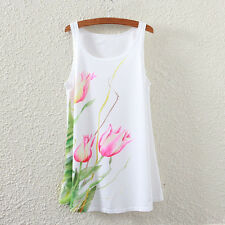 New Summer Women Sleeveless Graphic Floral Print T Shirt Blouses Vest Tank Tops