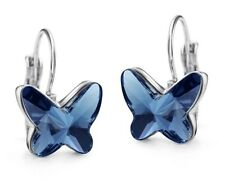 Swarovski Element Crystal Blue Butterfly Rhodium Plated Gift Small Drop Earrings