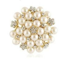 Large Gold Plated Cream Pearl and Rhinestone Crystal Bridal Brooch