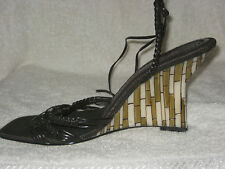 New 8.5 NINE WEST leather brown ankle-tie mosaic-heel open-toe wedge 10cm heels