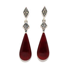 VINTAGE RETRO STYLE GENUINE HUGE CARNELIAN 925 STERLING SILVER STUDS EARRINGS