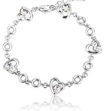 New Silver 5 Love Hearts Bracelet with Clear Swarovski Crystals Cuff Jewelry