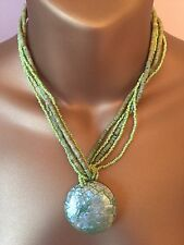 Mother Of Pearl Pale Green Pendant & 5 Strand Glass Seed Bead Necklace FREEPOST