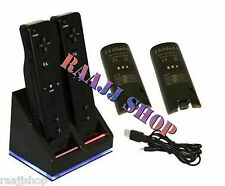 BLACK CHARGER DOCKING STATION + 2x RECHARGEABLE BATTERIES FOR WII U REMOTE