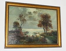 G. Eisen * Ölbild auf Leinwand * Melancholie Herbstlandschaft * 70x50 * Antik