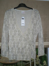 BNWT LADIES WOMENS NEXT SPARKLY GOLD LONG SLEEVED WRAP TOP JUMPER SIZE 14