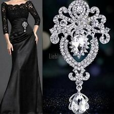 Women Large Flower Bridal Brooch Rhinestone Crystal Diamante Silver Broach Pin